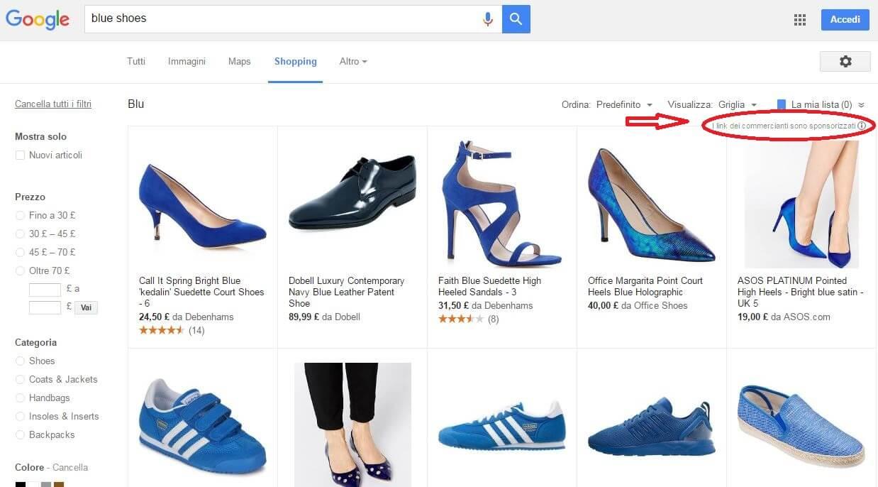 google shopping risultato di ricerca scarpe blu
