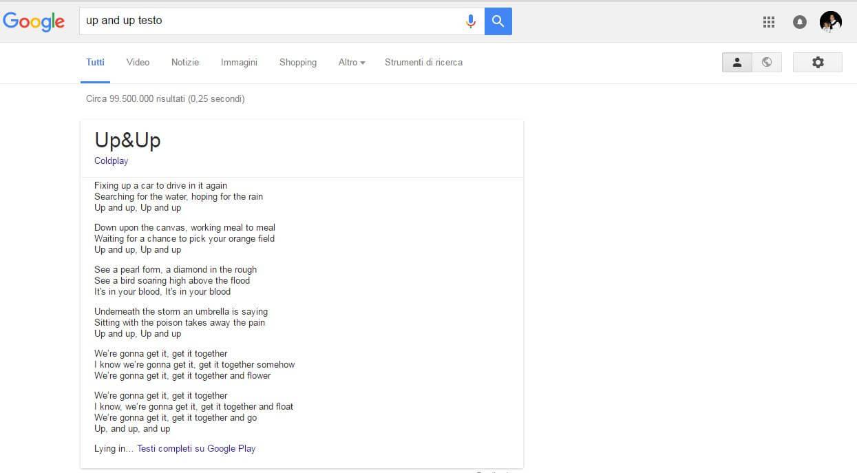 risposta google per testo canzoni